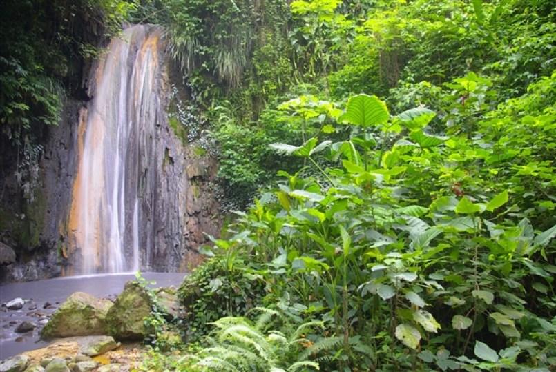 Soufriere State, Diamond Falls in Diamond Botanical Garden