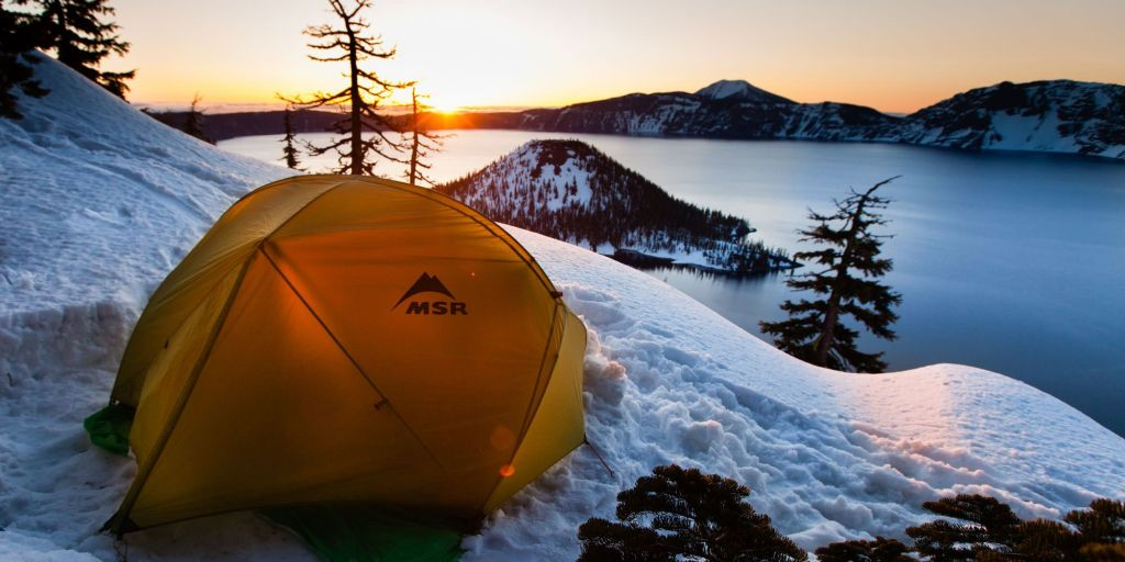 Crater Lake Camping in Winter
