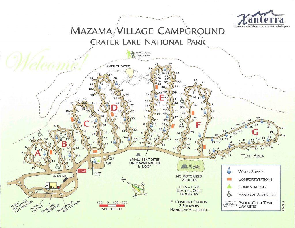 Mazama Campground Map in Crater Lake Camping