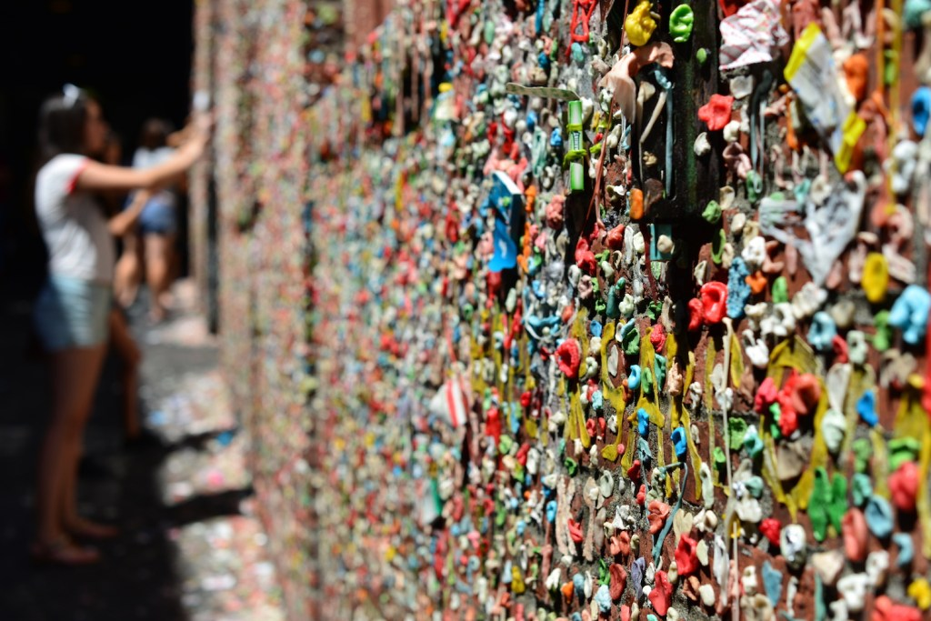 Blow Bubbles at Post Alley Gum Wall in Seattle