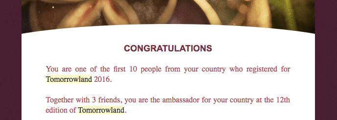 Get Tomorrowland Tickets by being one of the first 10 of your country to register