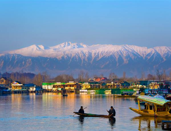 the view of the houseboats at the Dal Lake, in Srinagar.