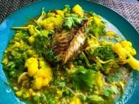 Bloemkoolcurry met Indiase kabeljauw