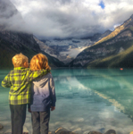 Brothers in front of Lake Louise