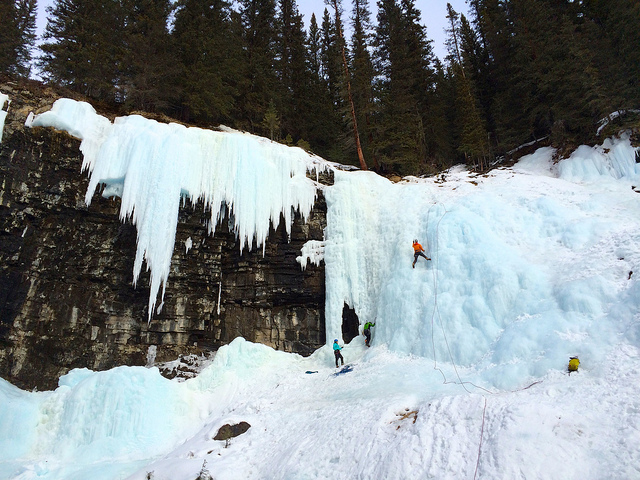 ice climbing in johnston canyon banff