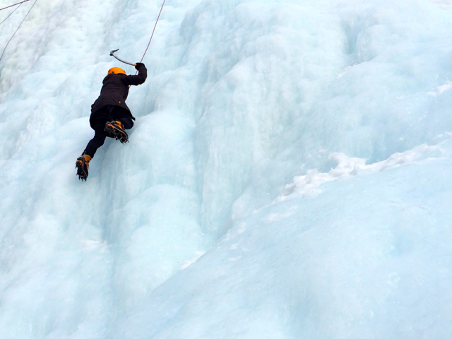 Ice climbing the Upper Falls of Johnston Canyon in Banff National Park