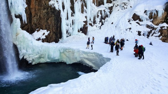 Partially Frozen Franklin Falls near Seattle , WA