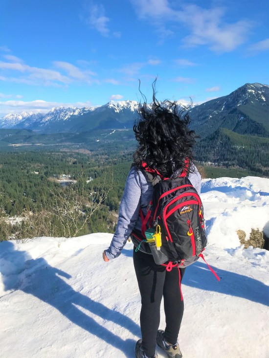 Windy on Rattlesnake Ledge. Viewing Snoqualmie Valley, Interstate-90 from Rattlesnake ledge.  Snow Hiking to Rattlesnake Ledge
