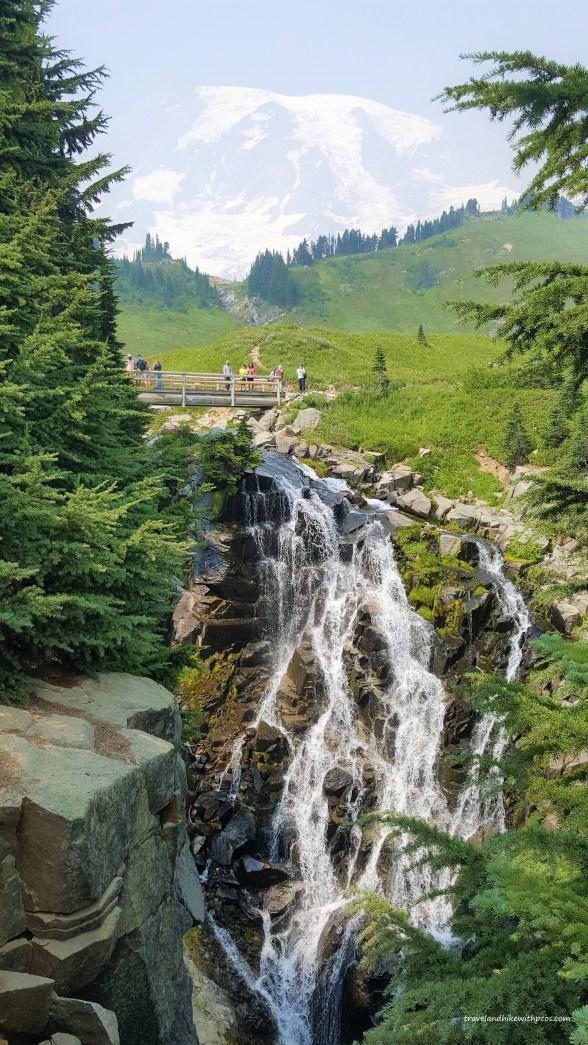 Myrtle Falls at Paradise Mount Rainier National Park. Visit Seattle. Easy Hike to Myrtle Falls. Washington state