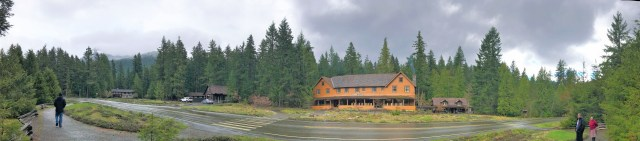 View of National Park Inn, Longmire Museum and Longmire General store at Mount Rainier National Park.Easy Hikes and Road side attractions at Mount Rainier.