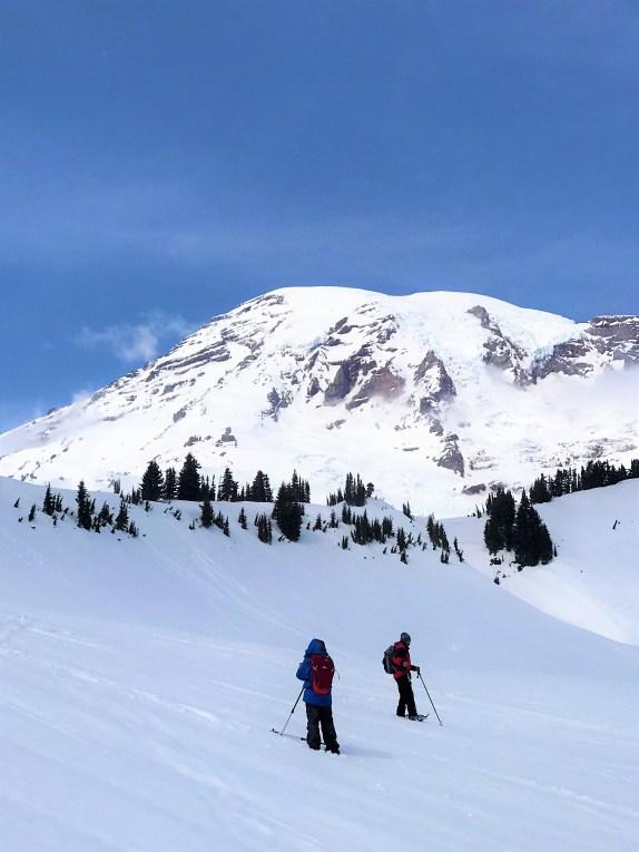 Majestic view of Mount Rainier on trail near to Myrtle Falls spot