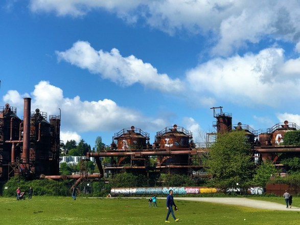 View of old rustic metal at historic Gas Works Park ,