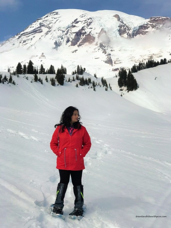Majestic view of Mount Rainier with blue sky