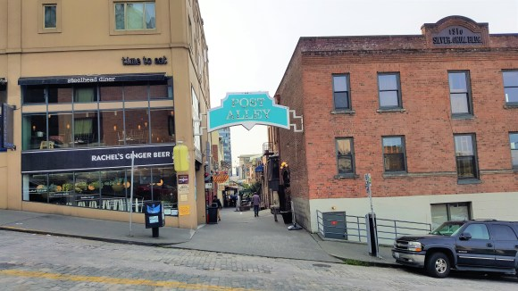 Rachel's Ginger Beer and Post Alley at Pike Place in Seattle Down town. Must visit places at Seattle.