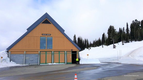 Snow surrounded Henry M Jackson Visitor Center at Paradise in Spring 2019