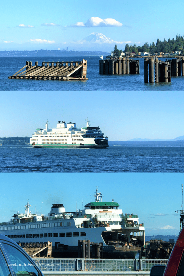 Distant view of Mount Rainier from Kingston Ferry Terminal. Ferry to Sequim from Edmonds. Edmonds-Kingston Ferry, Route to Sequim