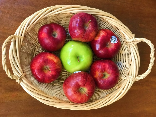 Red apples with Green Ginny Apple