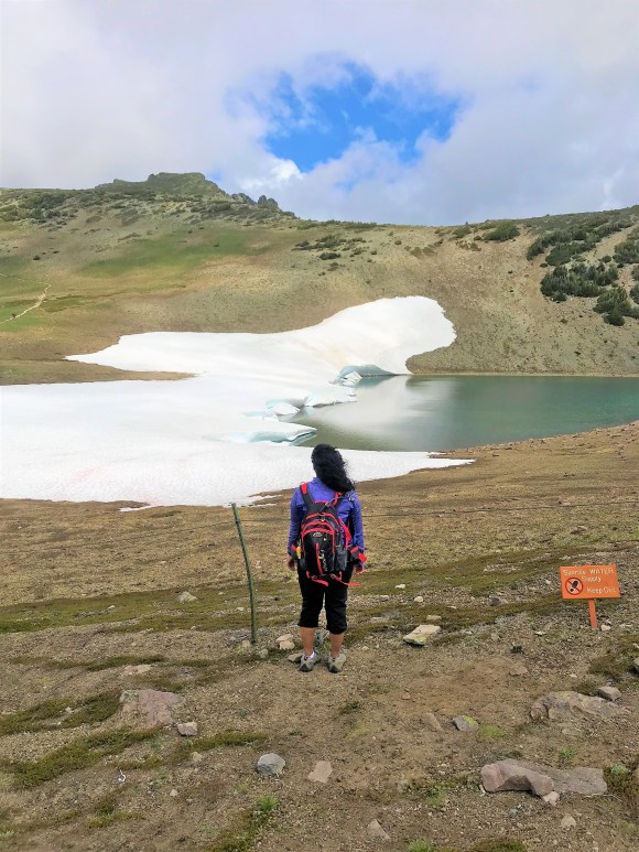 Frozen Lake at Mount Rainier in Mid July