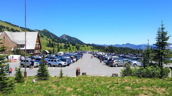 Parking Lot at Sunrise Visitor Center Mount Rainier National Park