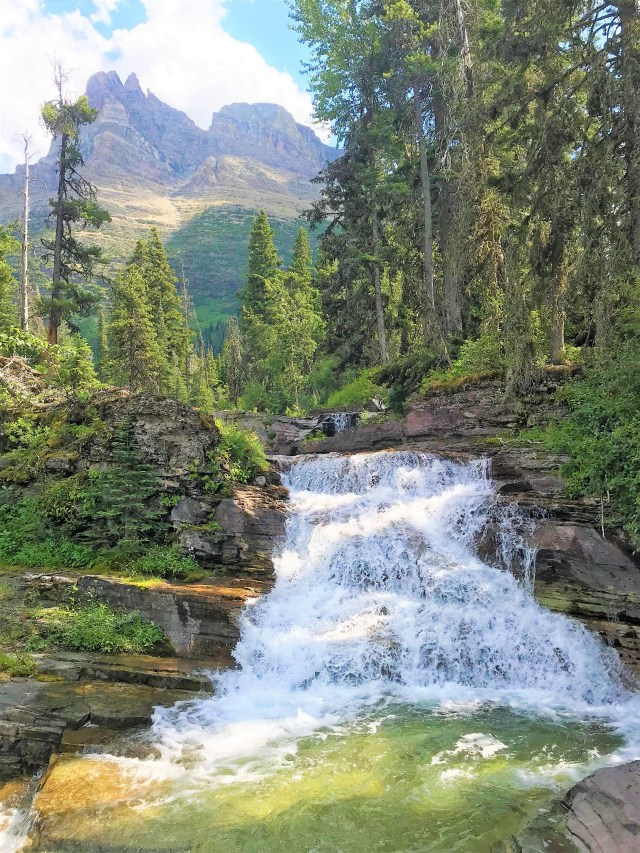 Scenic Waterfall on trail to Virginia Falls Glacier National Park