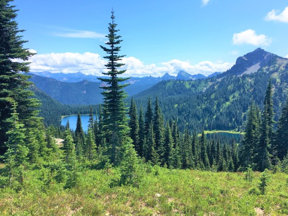 View of Dewey Lake from Lookout point on Naches Peak Loop Trail