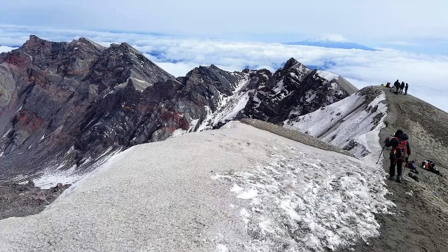 On Crater Rim of Mount St. Helens Summit