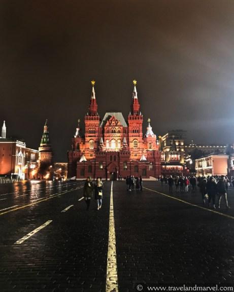 Piazza rossa di notte_itinerario Mosca