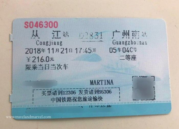 biglietto del treno cinese