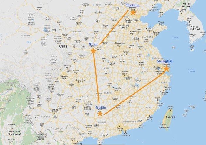 itinerario di viaggio in CINA