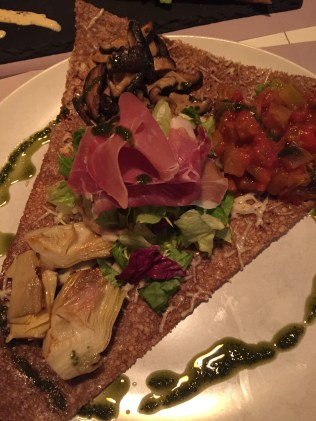 Savory Crepe with Parma Ham, Artichokes, Ratatouille & Mushrooms