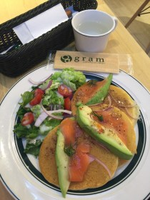 Pancake with Smoked Salmon and Salad