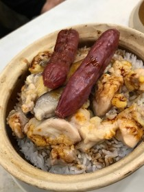 Claypot rice with Chinese sausages with frog