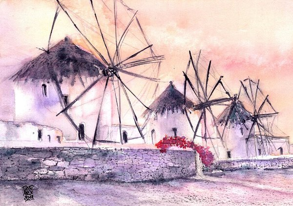 Ancient Windmills Of Mykonos Greece Art by Sabina Von Arx