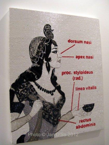 Anatomy of a Woman, Embroidery on canvas by Farhad Moshiri
