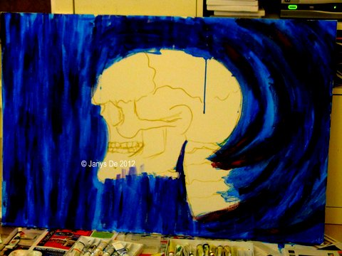 Mixed media painting with the skull. Hopefully the painting should be ready in time for ARTE. © Janys De 2012