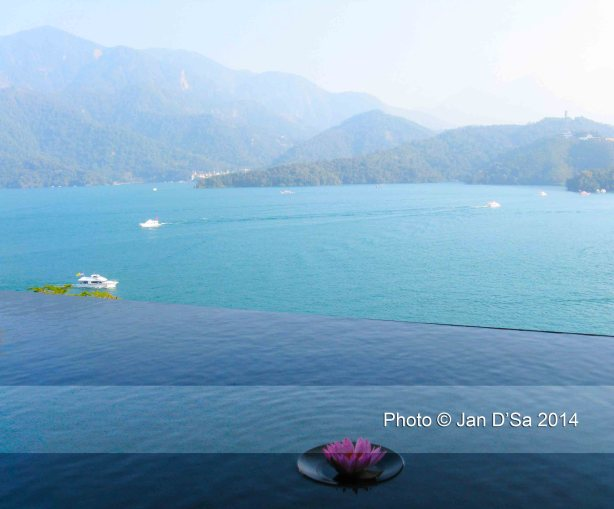 View of Sun Moon Lake from the Lalu Hotel, the late President's home Chiang Kai-Shek