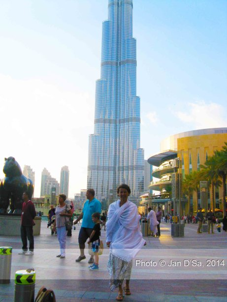 Romana Tripolt just outside Dubai Mall, in front of Burj Khalifa.
