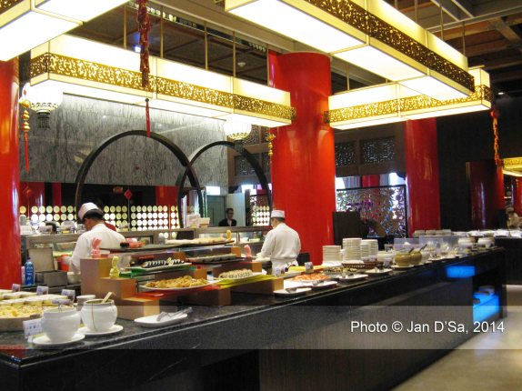 From a distance. The central food counter served Japanese food.