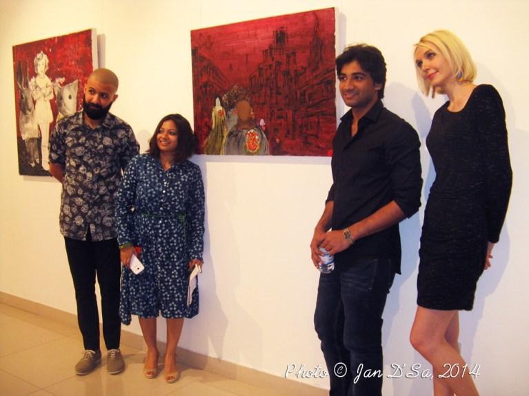 Irfan Sarim  and his artwork Beating Metropolis in acrylic. This was his debut exhibition.