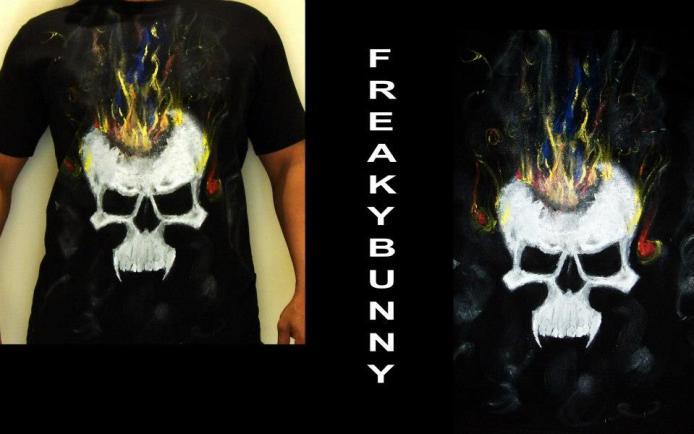 Freaky Bunny Tees - handpainted hot-heading fuming skulls!