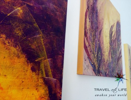 One of my favourite colour combinations is the aubergine purple with yellow gold. Close up of artwork by Rana.