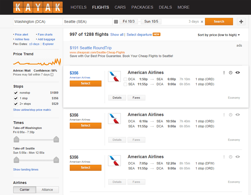 Kayak, your first line of defense against overpriced airfare.