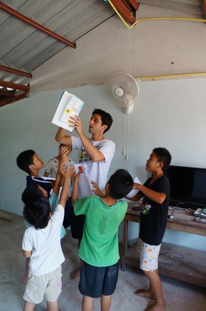 Mike volunteering with children