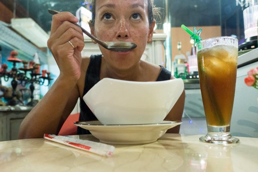 Heather enjoying her soup.