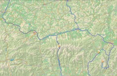 Mapa przejazdów - okolice Karpat (map.project-osrm.org)