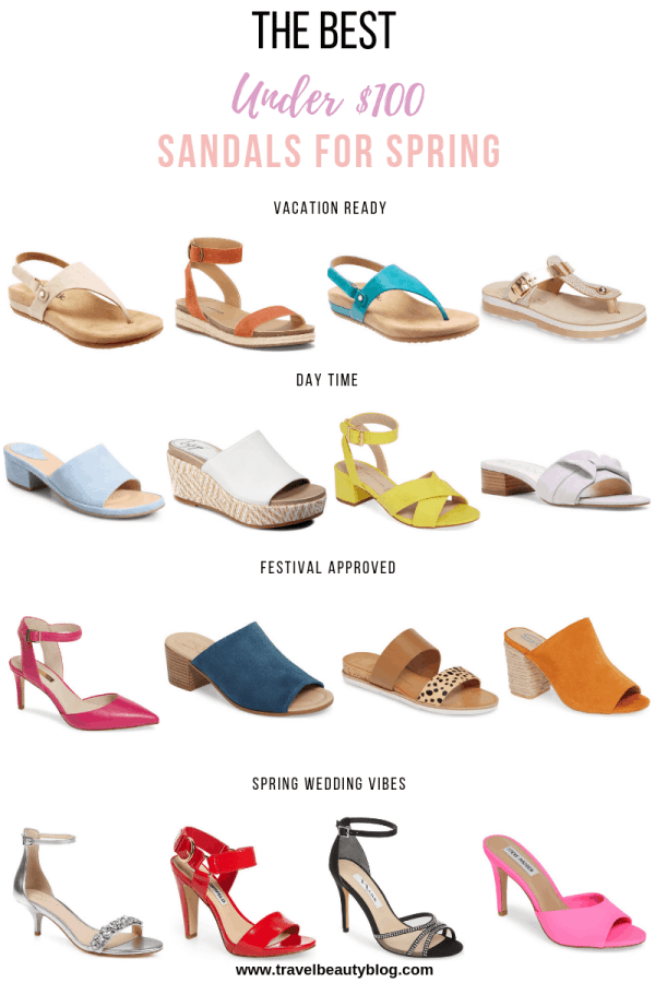 Sandals For Spring | Now These Are The Best Under $100 | Travel Beauty Blog | Sandals | Spring Essentials | Coachella 2019 | Festival | Pastels
