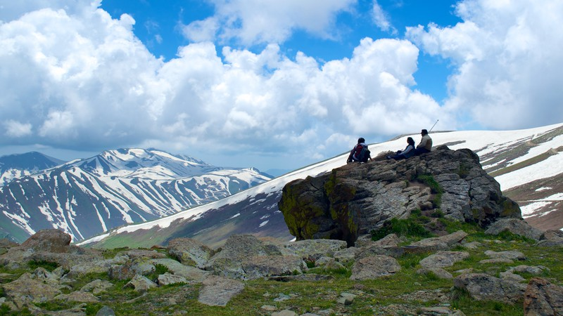 Jammua and Kashmir Mountain Range with People