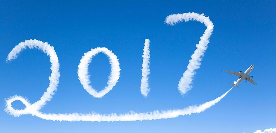 happy New year 2017 drawing by airplane in the sky