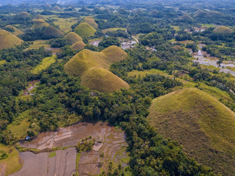 Aerial view of the Chocolate Hills on the island of Bohol, Philippines