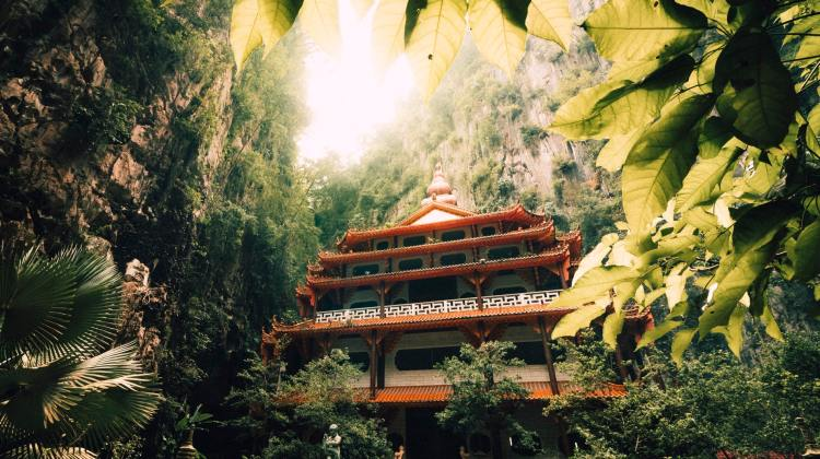 chinese temple in forest